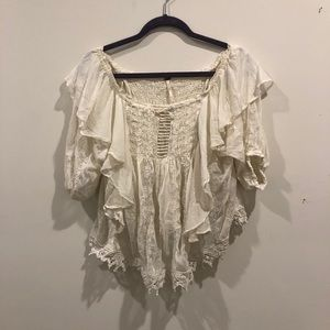 Free people Cream off the shoulder top